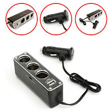 CAR CHARGER SPLITER W/3 CIGARETTE SOCKET+1 USB PORT FOR APPLE iPHONE 4 4G 4GS 4S