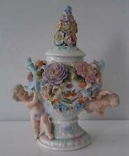 Superbo Raro COALPORT Coalbrookdale Fiore arrugginite Lidded Cupid VASO c1810