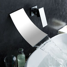 Luxury Waterfall Wall Mounted Bath & Basin Sink Mixer Tap Chrome Faucet
