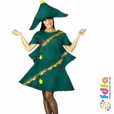 GREEN CHRISTMAS TREE TINSEL TUNIC & HAT ladies womens fancy dress xmas costume