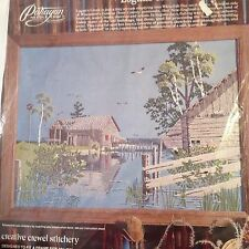 Paragon Needlecraft Logans Creek Crewel Kit Lake Shack Fishing Michigan Henning