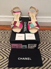 NIB Chanel Floral Heel Mary-Jane Canvas Shoes Sandals Heels SZ 37 - $800