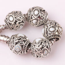 5pcs Tibetan silver love lampwork spacer beads fit Charm European Bracelet AB142