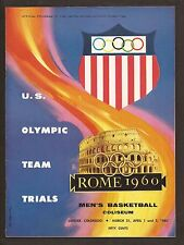 1960 Olympic Trials Basketball Group-Program/Brackets/Wire Photo/3 Ticket Stubs