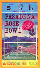 VINTAGE 1963 ROSE BOWL FOOTBALL TICKET STUB-USC VS. WISCONSIN