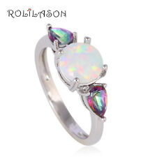 OR753OU#8 Rainbow Mystic Topaz Fashion White Fire Opal Silver Stamped Rings