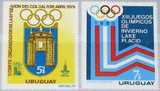 URUGUAY 1979 1522-23 1019-20 Olympics 1980 Moscow & Lake Placid Coat of Arms MNH