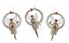 *GISELA GRAHAM 20cm WINTER WORLD FAIRY ANGEL IN RING CHRISTMAS TREE DECORATION