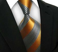 One Mens Striped WOVEN JACQUARD Silk Men's Suits Tie Necktie Yellow Gray M460