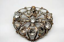 Sterling Silver Brooch with Old Antique Cut CZ's