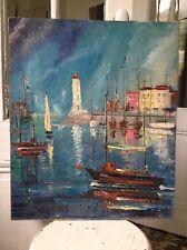 Tableau d'un port signé Gaston Tyco, peintre montmartrois né en 1918