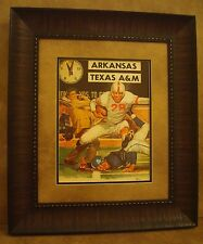 "VINTAGE TEXAS A&M COLLEGE FOOTBALL POSTER  FRAMED ""A&M VS ARKANSAS"" OCT. 1960"