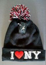 NEU Primark Strickmütze I ❤️ LOVE NEW YORK Beanie Bean Cap Bommelmütze Mütze