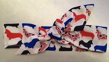 CORGI HEADWRAP HAIR WRAP HEADBAND RED WHITE AND BLUE UNION JACK CORGIS NEW