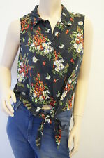 TOPSHOP Cherry Floral Button Summer Knot Front Crop Top Tee Size 14 FREE P&P E6
