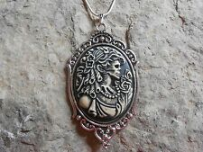 SKELETON LADY SKULL CAMEO NECKLACE- GOTH, GOTHIC, PUNK, SCARY, HALLOWEEN!!!!