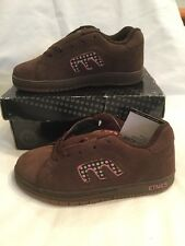 Genuine Etnies Kids Callicut Brown Pink Green Suede Skate Shoes UK Size 1 BNIB