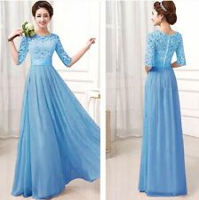 Blue Long Chiffon Formal Lace Party Cocktail Evening Prom Wedding maxi Dress XXL
