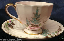 ROYAL TUSCAN ENGLAND 1056H CUP & SAUCER 8 OZ PINK WITH TURQOISE & PINK FLOWERS