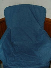 Pottery Barn Blue Denim Arm (Captain) Chair Cover Slipcover