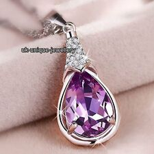CHRISTMAS Gifts For Her Girlfriend Women Amethyst Purple Crystal Necklace Lovers