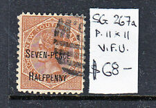 Nsw Seven Pence Halfpenny Overprinted On 6d Used Sg 267a P11X11
