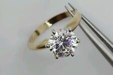 2ct  Solitaire 14k Real  Yellow gold  Round  Engagement Ring.