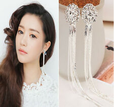 Clip On Screw Rhinestone Long Tassels Diamante Earrings Women Jewelery Popualr