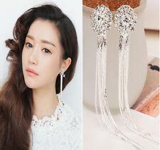 Clip On Screw Rhinestone Long Tassels Diamante Earrings Women Jewelery Popualr