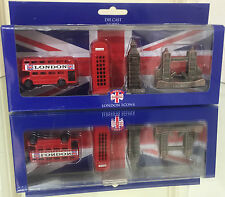 London Souvenirs Mini Die cast Figures Bus Tel Big Ben Tower Bridge in Gift Set