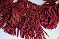 "2 Yards or MORE of 6"" Silky Rayon RED Bullion Fringe Trim ~ Ottoman Upholstery"