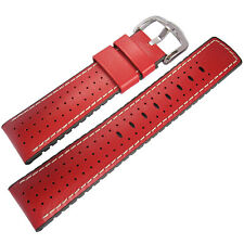 22mm Hirsch Performance Tiger Perforated Red Leather and Rubber Watch Band Strap