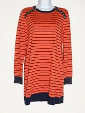 Michael Kors Womens Orange Black  L/S Cotton Blend Sweater Sz M  Free Shipping