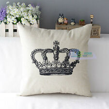 Retro Vintage Throw Home Decorative Cotton Linen Pillow Case Cushion Cover Crown