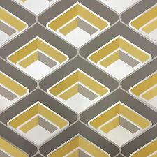 Grandeco - Geo In Yellow - Geometric 3D Effect - Retro Textured Wallpaper A16001