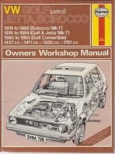 VW GOLF MK1 1.5 1.6 1.8 INCL GTI & CABRIOLET 1974 - 1985 OWNERS WORKSHOP MANUAL