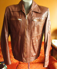 LARGE 42 BROOKLYN HIPSTER BROWN MEXICAN LEATHER True Vintage 70s Zip Jacket