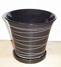 "8 1/2"" BLACK CERAMIC PLANTER WITH SAUCER WHITE STRIPES FLOWER POT HOME DECOR"