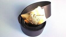 Leather Russian Army type original soldier belt Size 2 with brass arms badge