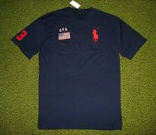 Men's $65 (3XLT-Tall) POLO-RALPH LAUREN Navy USA FLAG & BIG PONY T-Shirt