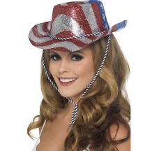Womens Girl American Flag Cowboy Glitter Hat USA Fancy Dress Stars Stripes Texas