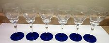 (6) Elegant 1930's Weston Art Deco Crystal Cut Etched Blue Water Goblets Glasses