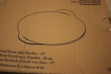 "Pampered Chef Large Round Stone w/ Handles 15"" Pizza Stoneware Cookware #1371"
