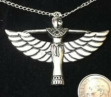 "Egypt Cleopatra Winged Charm Tibetan Silver with 18"" Necklace D34"