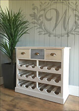 Wooden Wine Cabinet White 18 Bottle Rack Storage Unit Tabletop Drawers