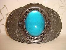 Vintage dark metal blue horseshoe boucle de ceinture rétro style western rare
