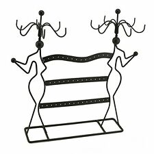 Two Lady Jewelry Earring Holder Necklace Stand Rotating Display Organizer Rack