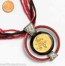 Chico's Signed Necklace Silver & Gold Tone Black Enamel & Suede Red Bead Chinese