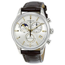Certina DS- 8 Chronograph Moon Phase Silver Dial Brown Leather Mens Watch