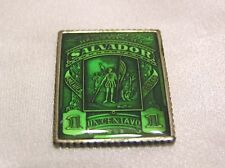 STUNNING SOLID SILVER and ENAMEL STAMP SALVADOR COLUMBUS DISCOVERS AMERICA